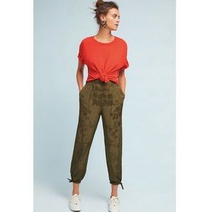 Anthropologie Green Printed Ankle Tie Jogger Pants